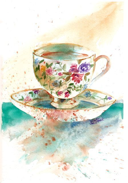 Original Watercolor Painting High Tea Cup and Saucer ...