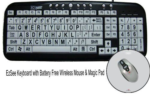 New EZsee Large Print Wired USB Computer Keyboard with White Letter on Black Keys
