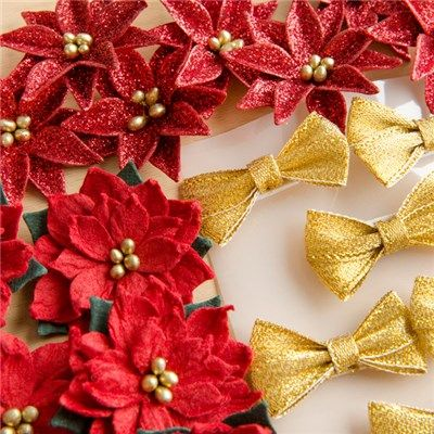 Tonic Craft Perfect Handmade Gold Bows and Red Flowers (383546)   Create and…