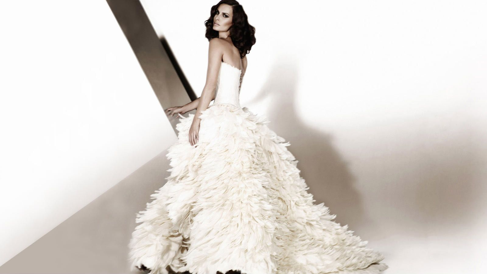 Love the use of feathers in this dress, simply stunning.