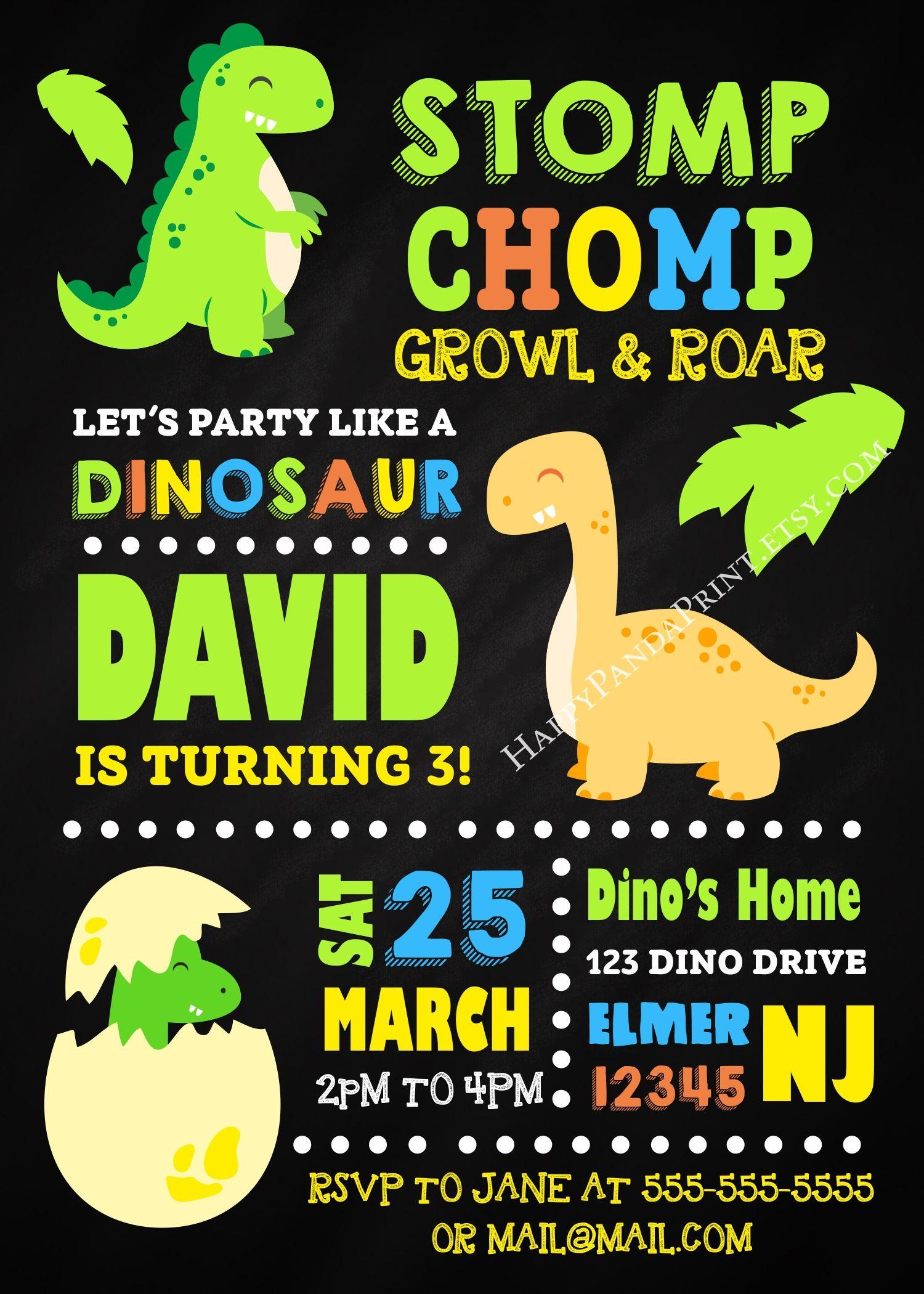 Dinosaur Invitation, Dinosaur Birthday Invitation, Dinosaur Party, Baby Dinosaur Chalkboard Invitation, Dinosaur 1st Birthday, Dinosaur Invite, Dino Invitation, Dino Invite, Dino First Birthday, Dino Birthday Party #dinosaur #dino #1stbirthday #invitations #birthday #baby #children