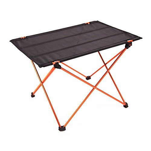 Ultralight Folding Roll Up Camping Table With Carry Bag Aluminum For Picnic  Portable Foldable TableOrange *