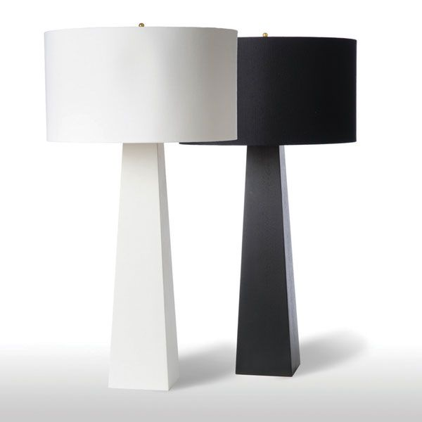 Black And White Table Lamp: Monolith Table Lamp - These minimal table lamps, designed by Barbara  Cosgrove, are constructed from wood composite. Choose from black or white.,Lighting