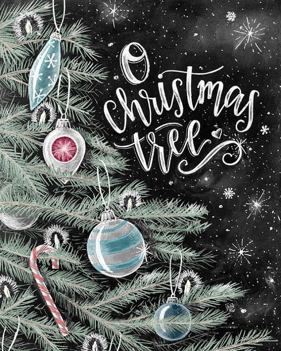 O Christmas Tree, Christmas Art, Ornaments, Chalkboard Art, Chalk Art, Holiday Sign, Christmas Sign, Holiday Tree, Holiday Decor