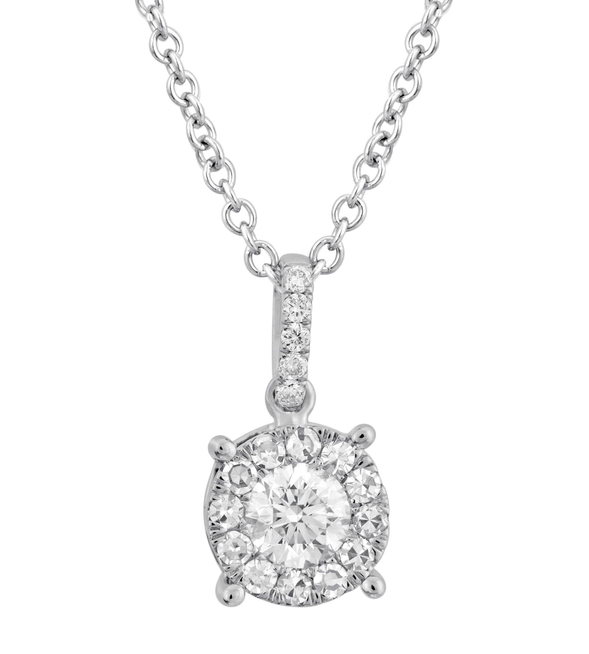 Wedding Day By Martin Flyer Pressure Set Round Diamond Pendant