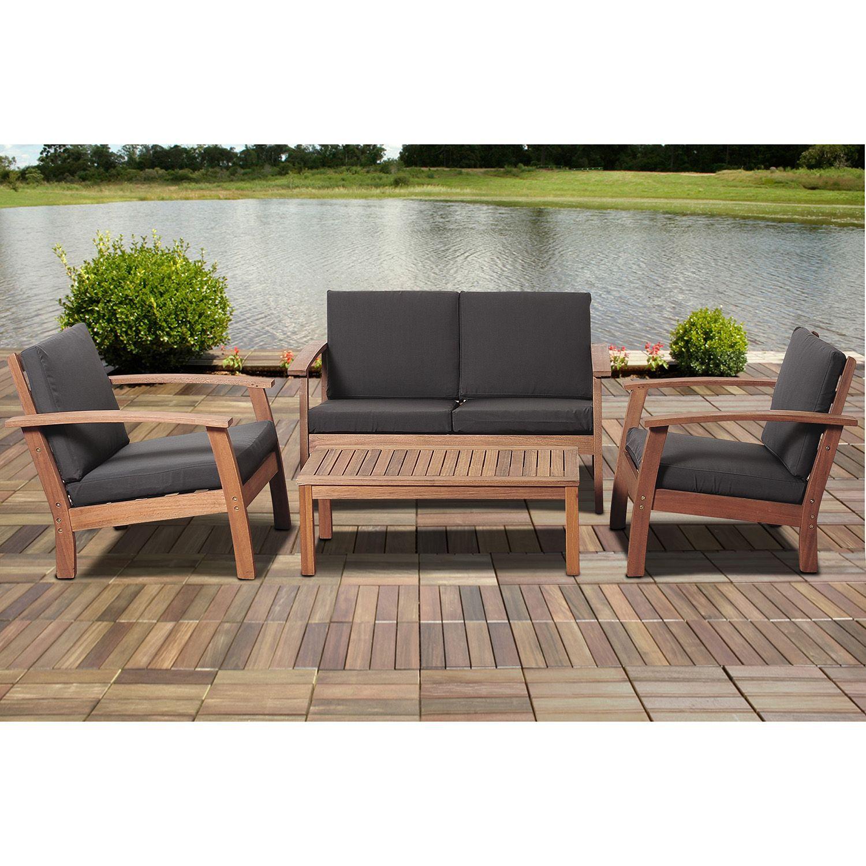 Valencia Eucalyptus Patio Deep Seating Set With Black Cushions 4 Pcs Sam S Club