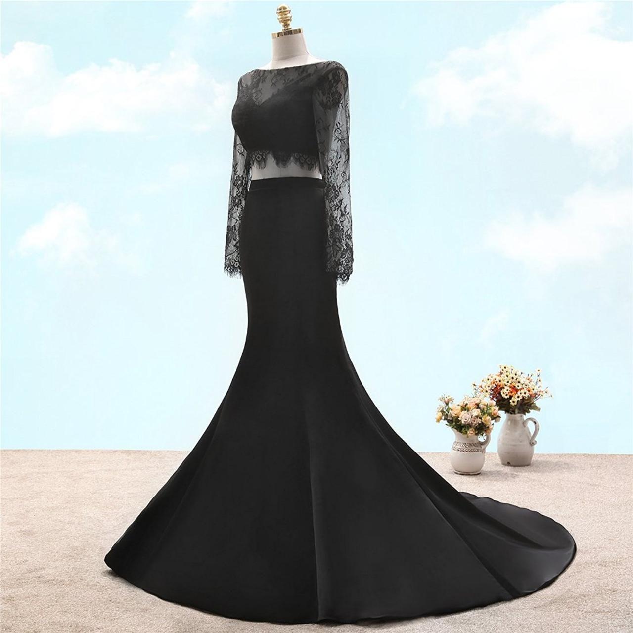 Womenus trumpet vback long sleeves black lace twopiece satin prom