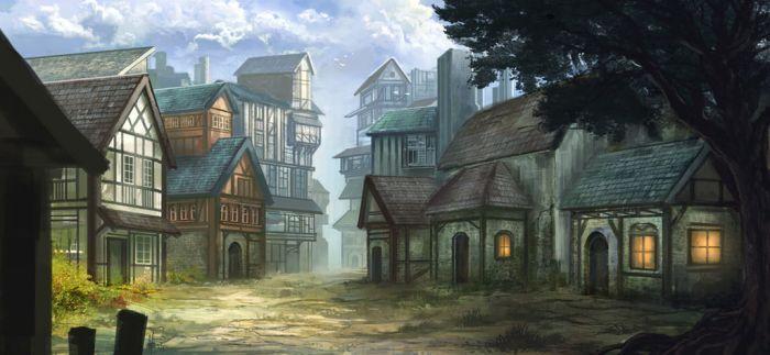 Medieval Village Art