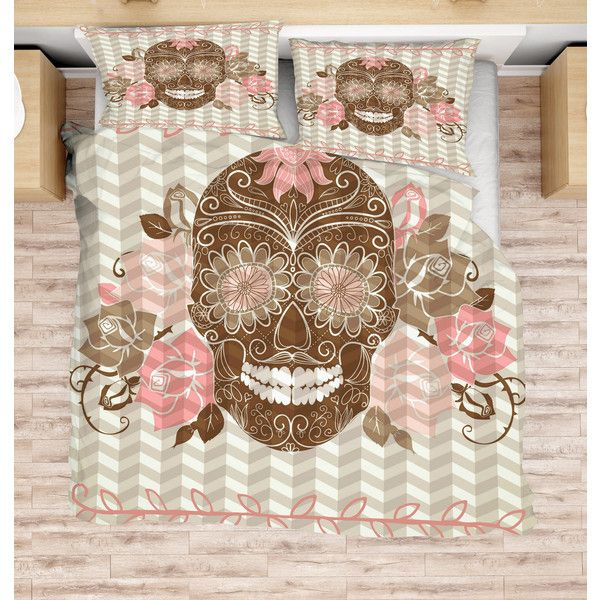 On Sugar Skull Bedding Brown Beige Pink Floral Duvet Cover or ...
