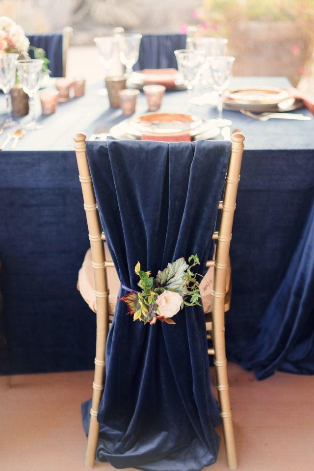 Luxurious Navy And Gold Wedding Inspiration At Ranch At The Canyons Wedding Chairs Wedding Chair Decorations Chair Covers Wedding