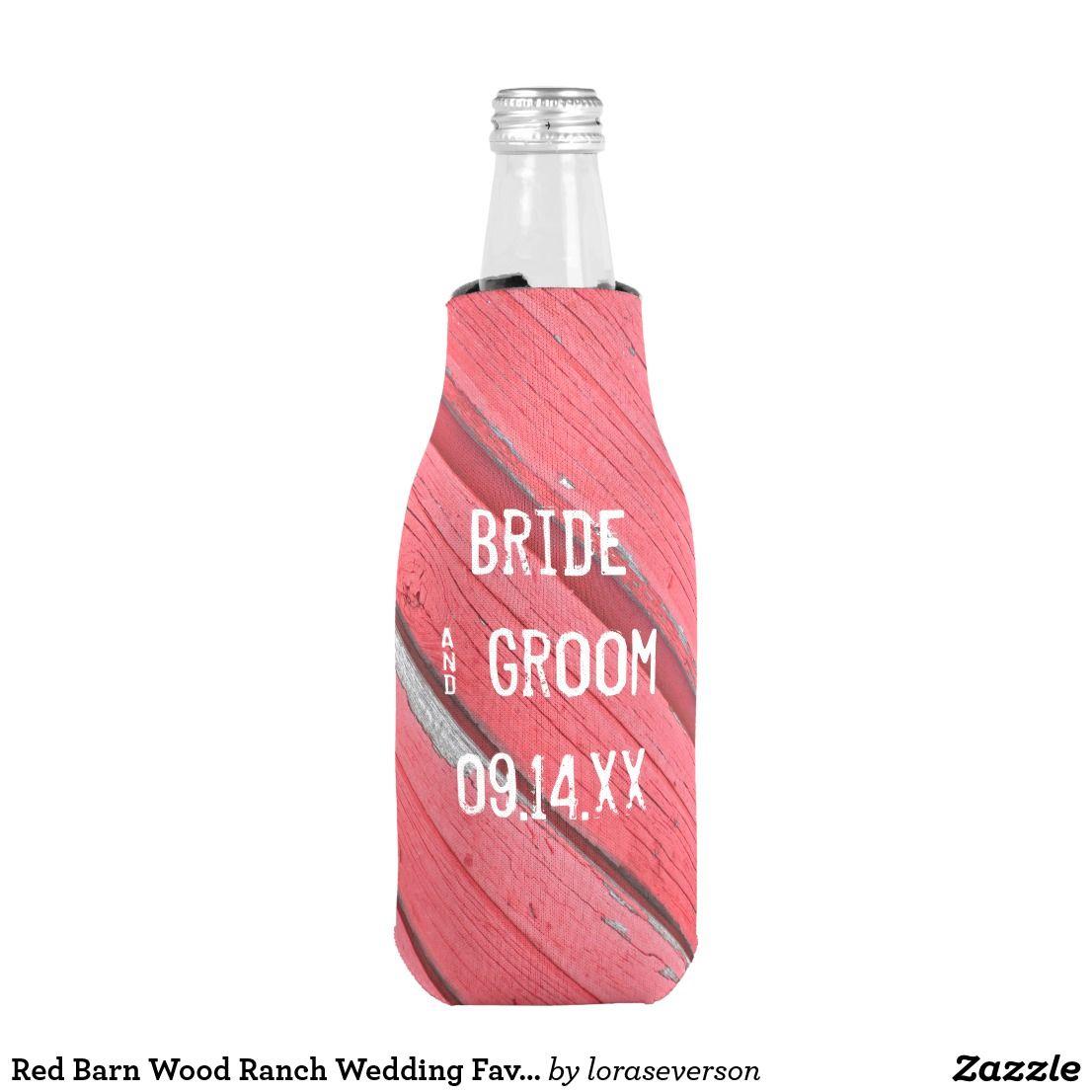 Red Barn Wood Ranch Wedding Favor Bottle Cooler   Wedding Koozies ...