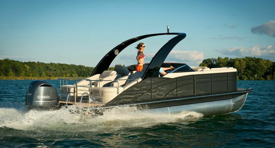 Black exterior 2015 Bennington pontoon boat with sport ...