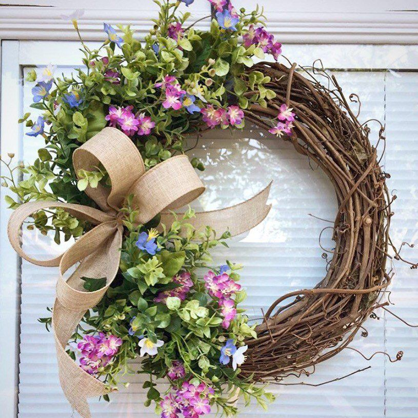 Yellow Flowers Wreath Cottage Wreath Everyday Wreath Custom Wreath Designer Wreath Floral Wreath Farm Wreath Grapevine Wreath