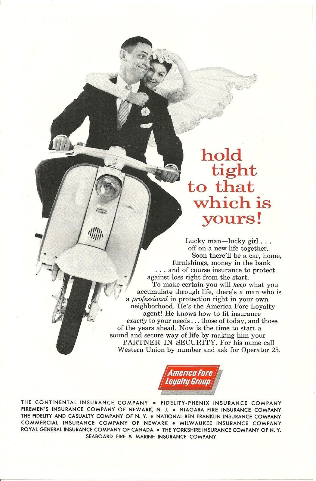 Print Ad Wedding Bride Scooter America Fore Loyalty Group 1960