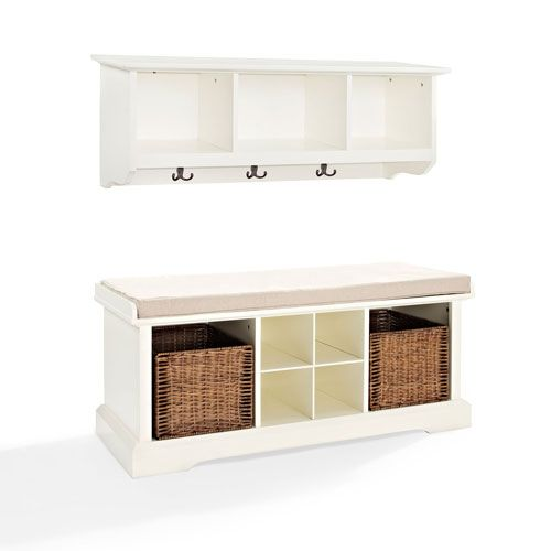 251 First Hayden White Two Piece Entryway Bench And Shelf Set | Bellacor