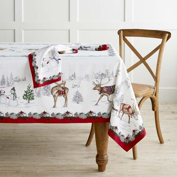 Snowman Tablecloth In 2020 Christmas Table Linen Christmas Table Cloth Table Cloth