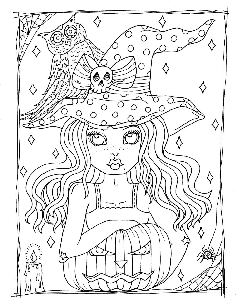 Little Witches Digital Coloring Book. Fun little witches