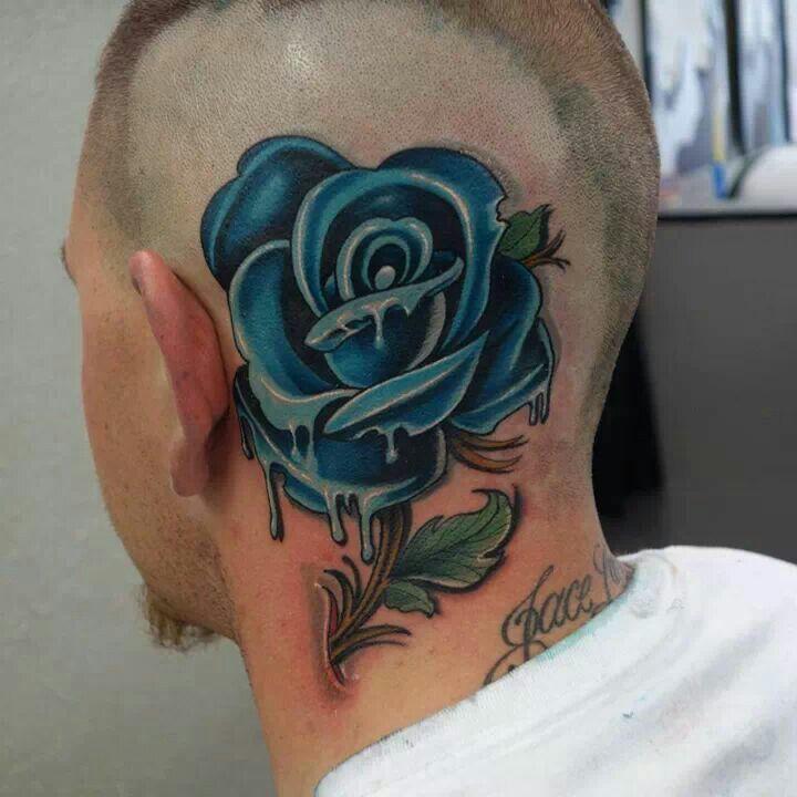 136f795499073 Blue Rose New School | Tattoo | Head tattoos, Picture tattoos, Tattoos