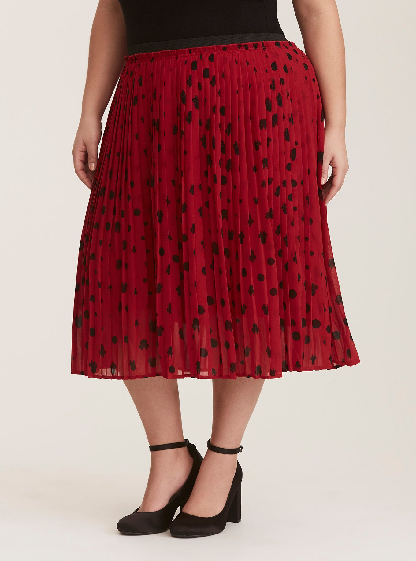 e899e558e9 Disney Minnie Mouse Red & Black Chiffon Pleated Midi Skirt | Stitch ...