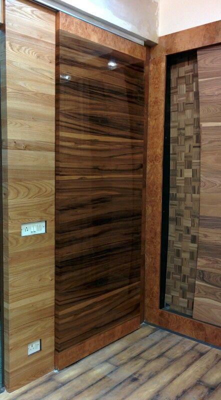 Smoked satin walnut plank match wood veneer sliding door & Smoked satin walnut plank match wood veneer sliding door | Надо ...