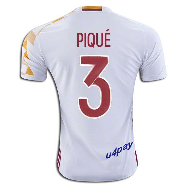 a7c9664eab 2016 UEFA Euro Spain Gerard Pique 3 Youth Away Soccer Jersey