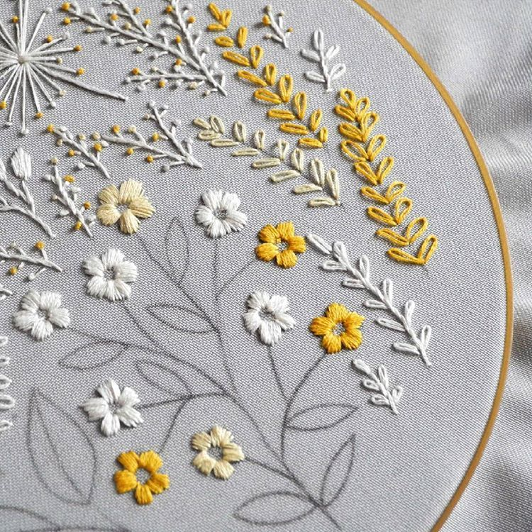 """????Sisters' embroidery store???? on Instagram: """"????Yellow&white???? The colors of our sunny winter mood???? __________________ #embroideryhoop #embroidery #embroideryartist #floral…"""" #floralembroidery"""
