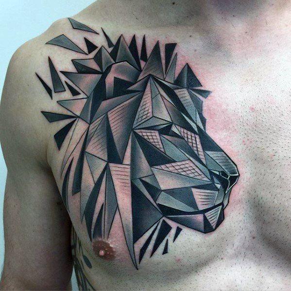 60 geometrische l wen tattoo designs f r m nner. Black Bedroom Furniture Sets. Home Design Ideas