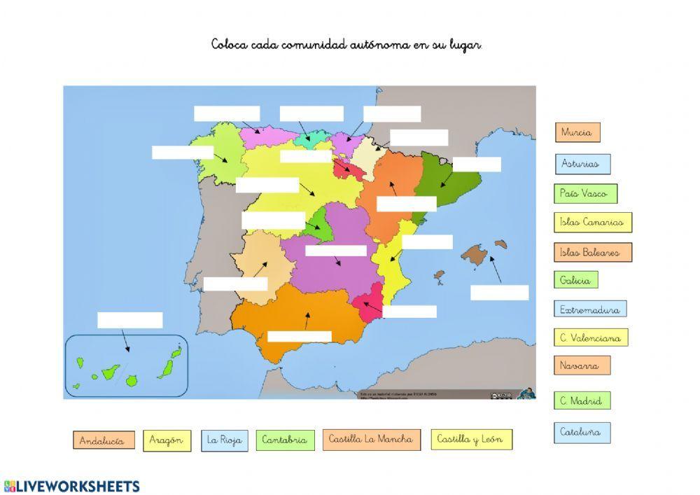 Ficha Interactiva De Comunidades Autónomas De España Para 2º Primaria Puedes Hacer Los Eje Comunidades Autonomas De Espana Geografía Para Niños Mapa De España
