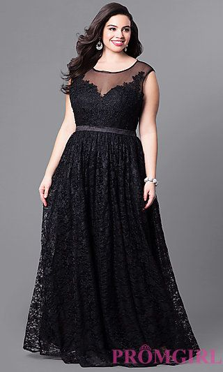 LP-24061P - Formal Long Plus-Size Prom Dress with Illusion Lace