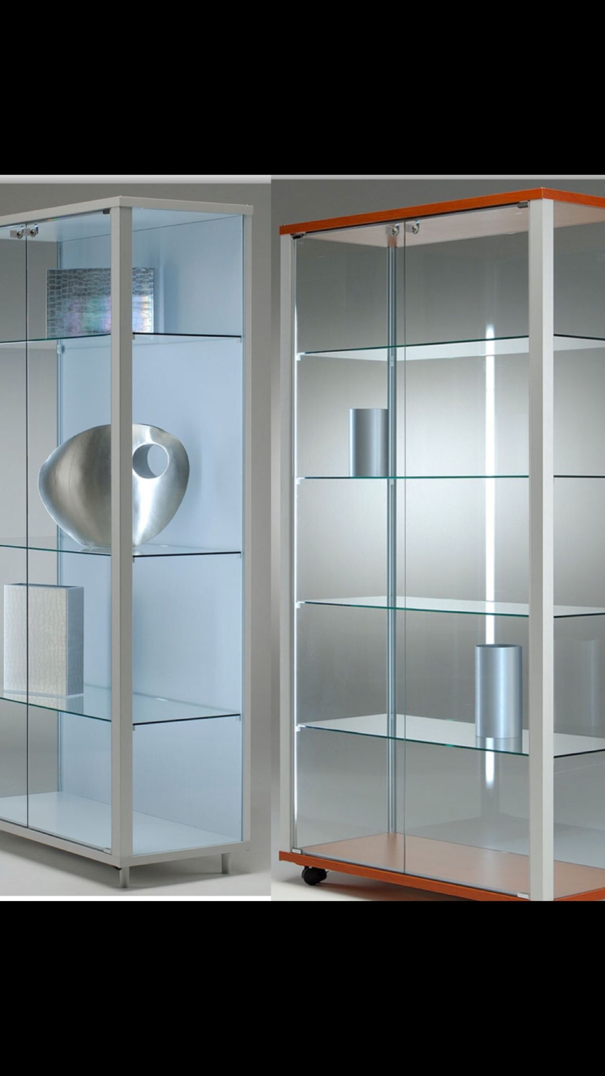 Glass Cases Trophy Cabinet Lockable With Side Lights All Made From Toughened Glass