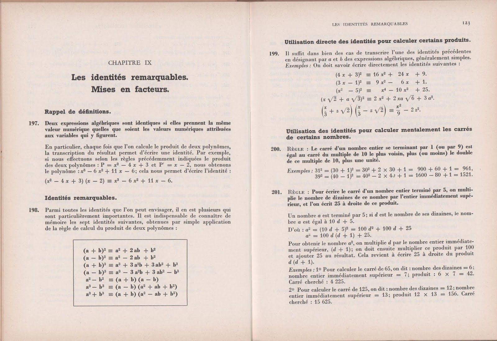 Monge Algebre Seconde A C M M Programme De 1960 Grandes Images Algebre Mathematiques College Identites Remarquables
