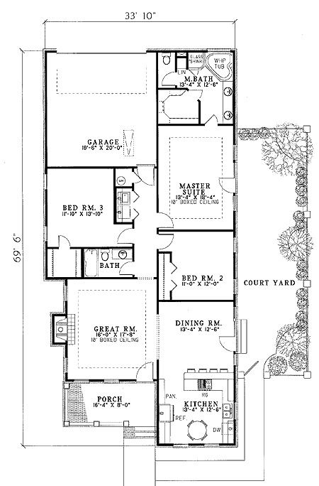 Plan 59082nd Private Side Courtyard In 2020 Courtyard House Plans Country Style House Plans House Plans