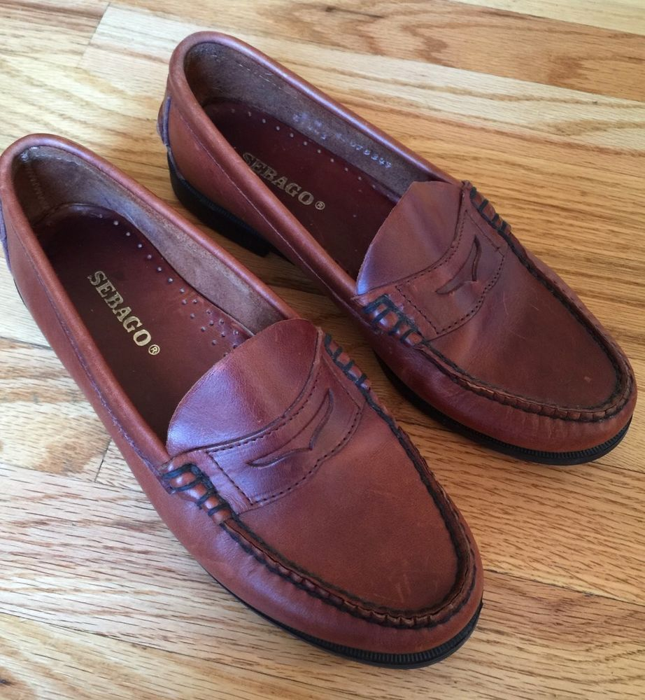 Sebago Classic Penny Loafer Brown Leather Casual Slip on Shoe Womens 8 w  Wide | eBay