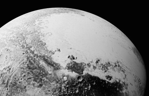 This synthetic perspective shows what you would see if you were approximately 1,100 miles (1,800 kilometers) above Pluto's equatorial area, looking northeast over the dark, cratered, informally named Cthulhu Regio toward the bright, smooth, expanse of icy plains informally called Sputnik Planum. The images were taken as New Horizons flew past Pluto on July 14, 2015, from a distance of 50,000 miles (80,000 kilometers).