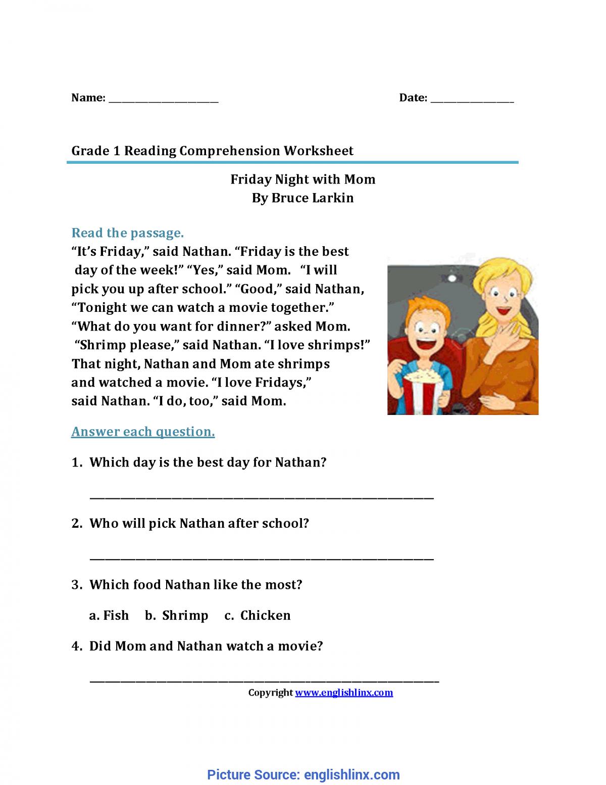 Complex 1st Grade Reading Comprehension Reading Worksheets