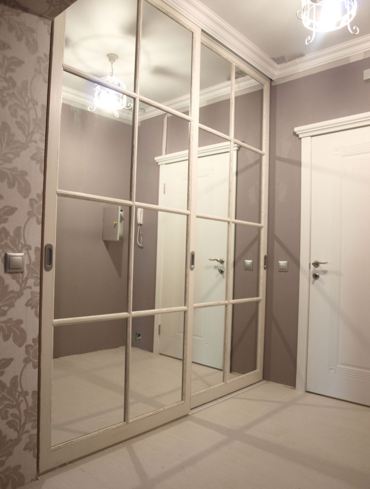 Hallway trim ideas  Mirrored closet doors makeover It can be done by adding popin