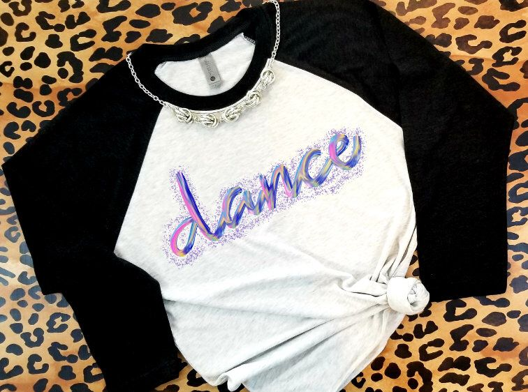 Confetti Glitter Watercolor Dance Raglan Dance Shirt Dance Mom