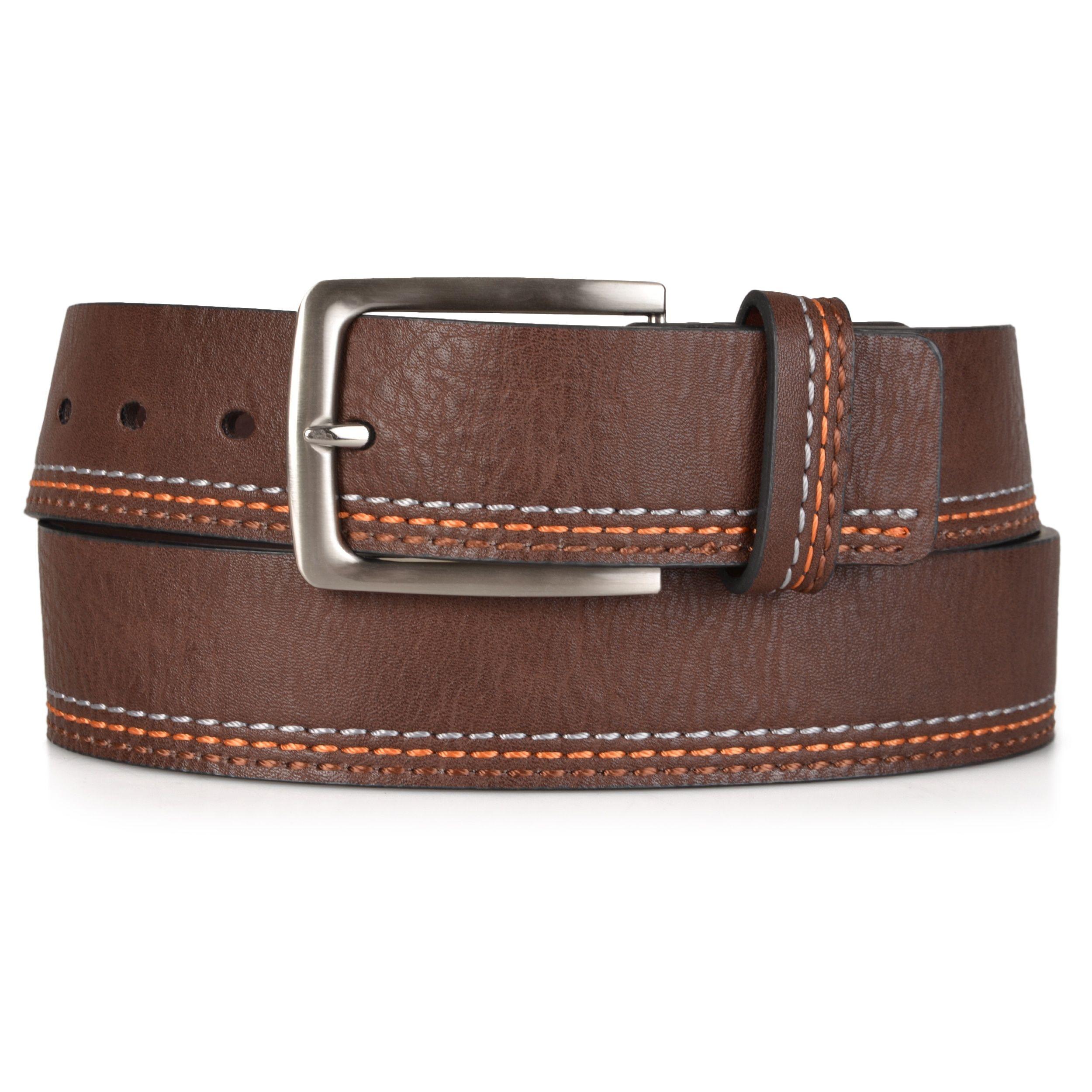 Vance Co. Men's Genuine Topstitched Belt