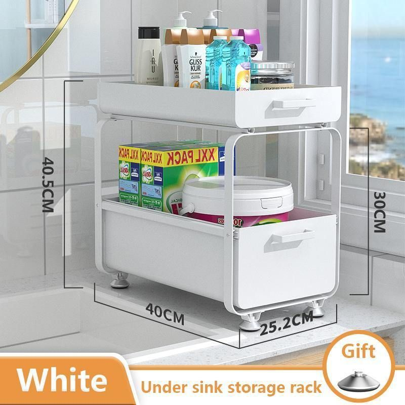 Sliding design 2 tiers metal iron under the sink standing storage shelf rack for kitchen storage - White