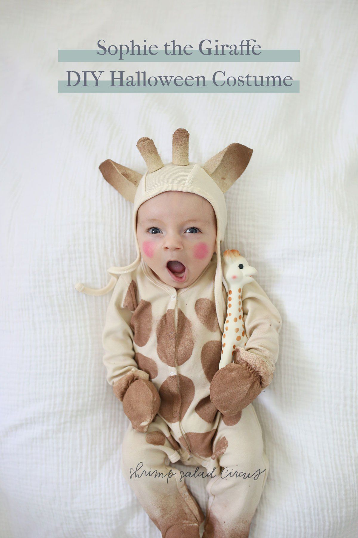 diy sophie the giraffe baby halloween costume idea this tutorial includes supplies available on amazon prime for last minute halloween costumes for kids