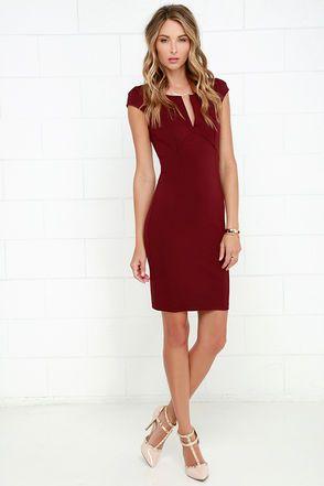 Maroon Dress - Midi Dress - Bodycon Dress -  42.00 59375f374a