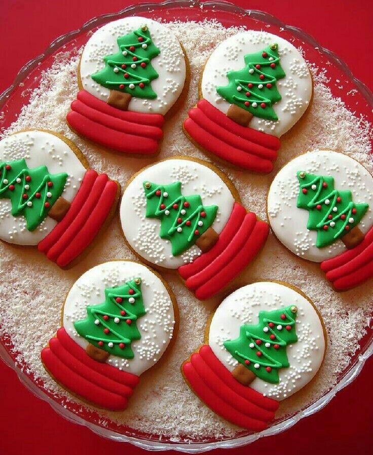 Christmas tree snow globe cookies cookies Pinterest Navidad
