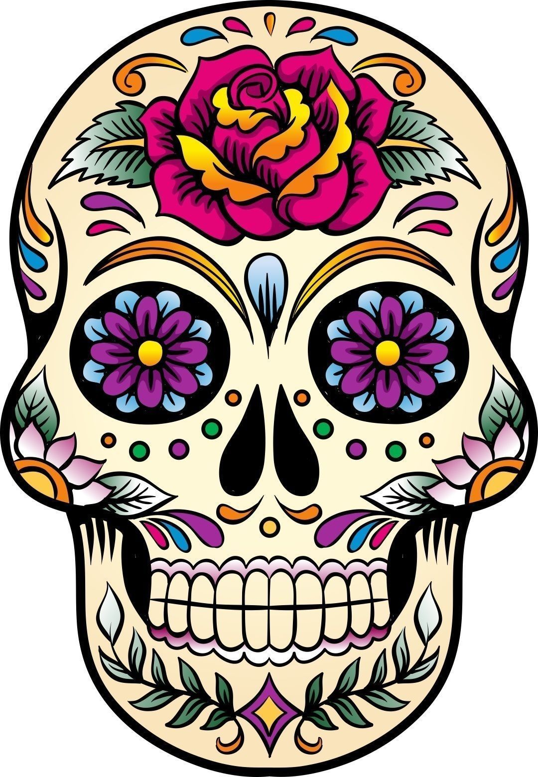 Mexican sugar skull self adhesive vinyl sticker in 2019 print outs skull sugar skull art - Sugar skull images pinterest ...