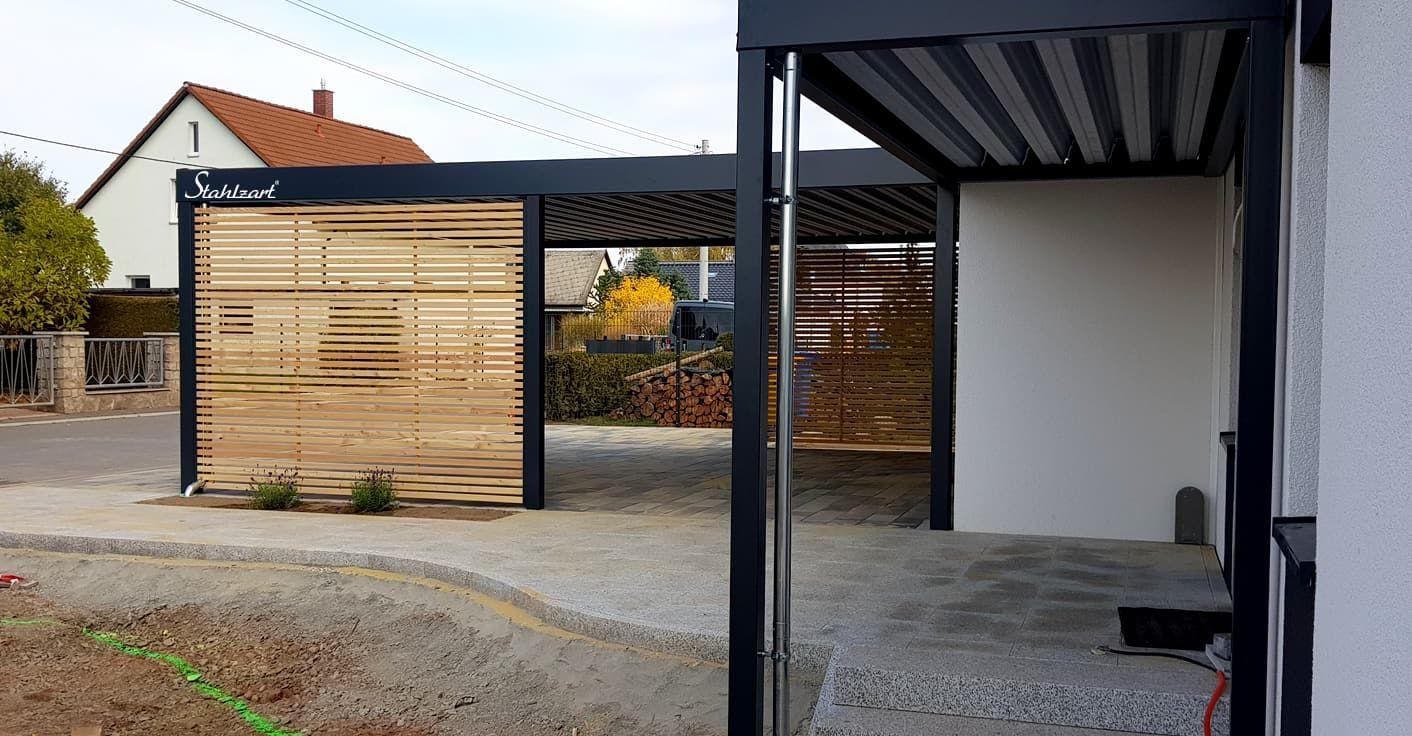 Carport Metall Stahl Holz Haus Anbau Luxemburg · modern