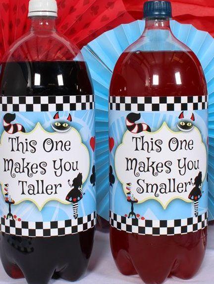 IDEA for diy beverage bottle labels for Alice In Wonderland Birthday Party