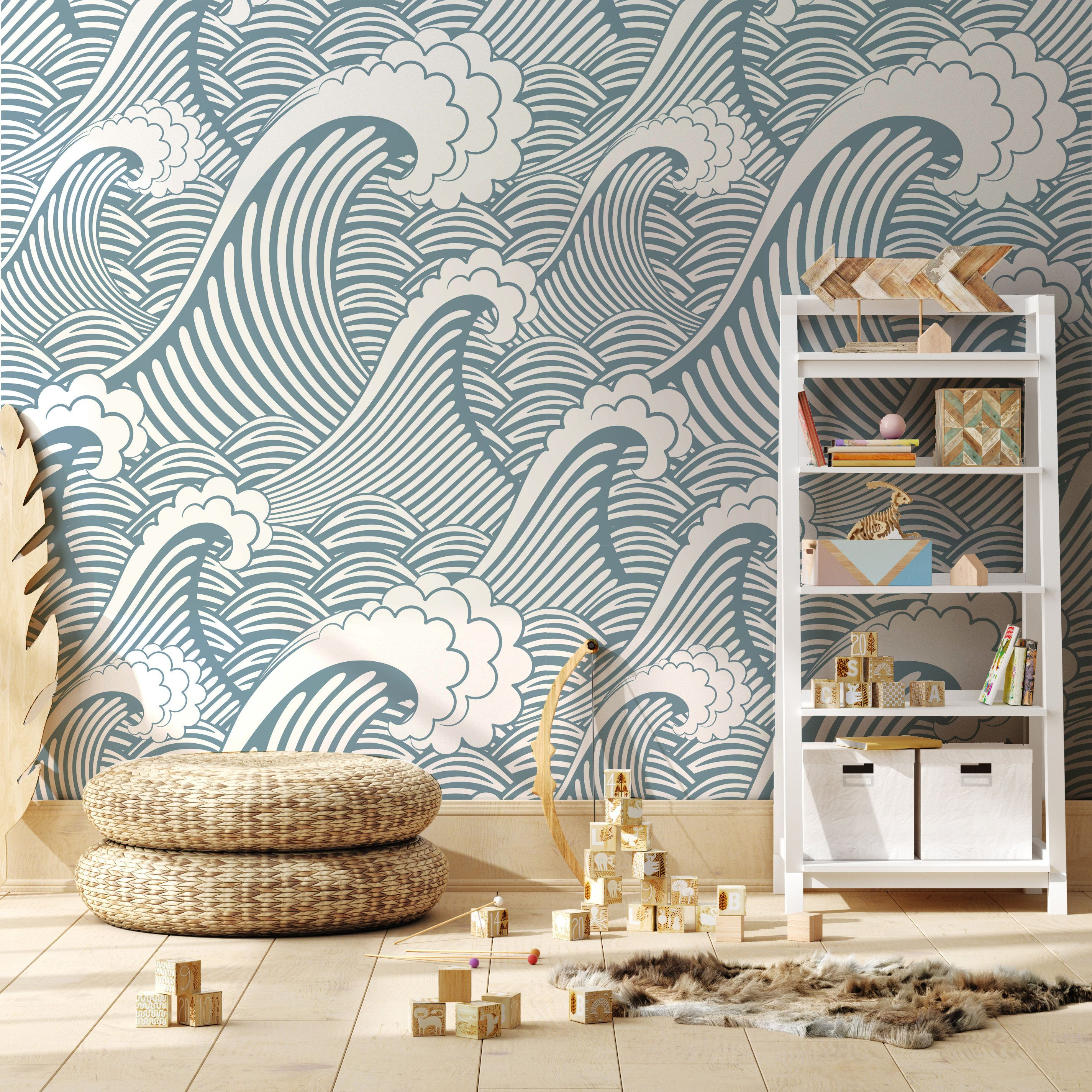 Kyoto Great Wave Wallpaper Repositionable And Traditional Etsy Waves Wallpaper Great Wave Couple Wallpaper