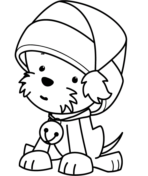 cute puppy wearing christmas hat coloring for kids christmas coloring pages kidsdrawing free coloring pages online