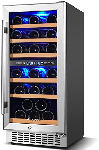 Amazon Com Upgraded Wine Cooler Dual Zone Aobosi 15 Inch 30 Bottle Wine Refrigerator Built In Or In 2020 Dual Zone Wine Cooler Tempered Glass Door Wine Refrigerator Dual zone wine cooler freestanding