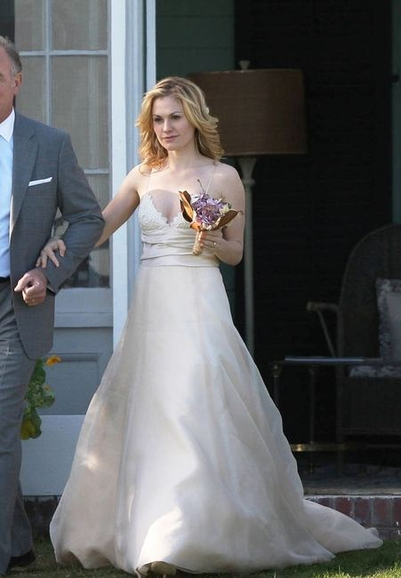 Anna Paquin Wore Amsale Bali Gown Down The Aisle In Movie