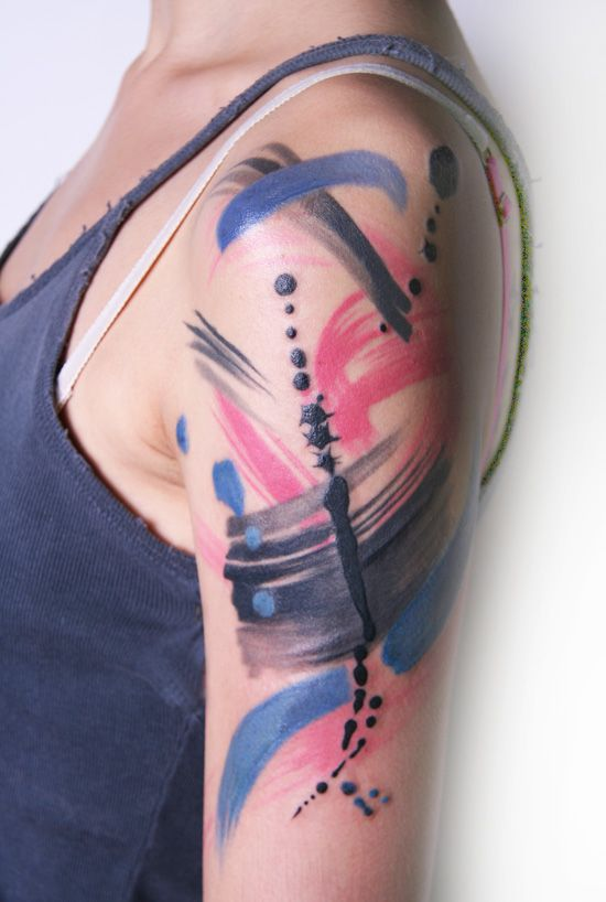 Paint Smear Amanda Wachob Brush Stroke Tattoo Abstract Tattoo